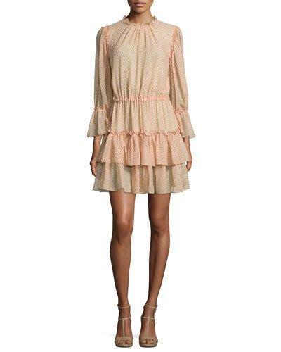 Michael Kors Long-Sleeve Tiered Ruffle Dress, Nude/Leaf/Oleander