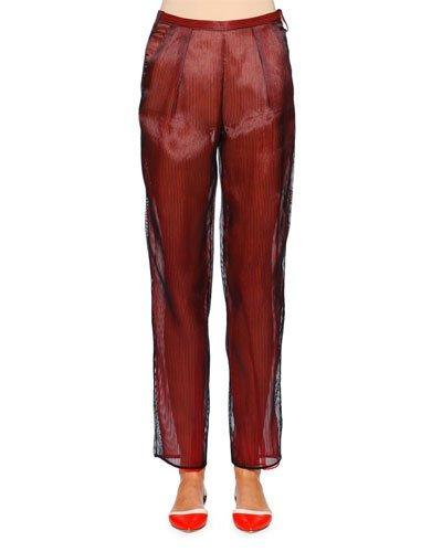 Giorgio Armani Slim-Leg Ankle Pants, Navy/Red In Navy/Red L