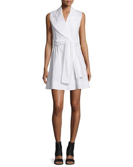 Maison Margiela Sleeveless Cotton Poplin Wrap Dress, White