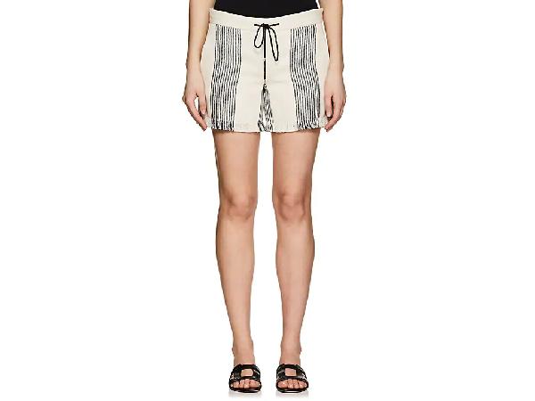 Derek Lam Striped Canvas Drawstring Shorts, Black/Natural In Black-Natural