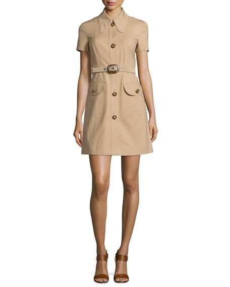 Michael Kors Short-Sleeve Button-Front Shirtdress, Dune
