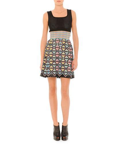 Fendi Sleeveless Dress With Textured Skirt In Black Multi