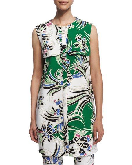 Just Cavalli Love Kimono Printed Shift Dress, Green