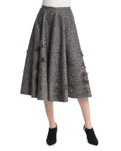 Michael Kors Embellished Dance Skirt, Charcoal