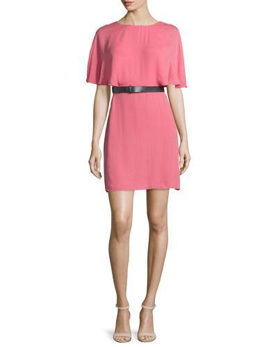 Halston Heritage Short-Sleeve Belted Caftan Dress, Strawberry