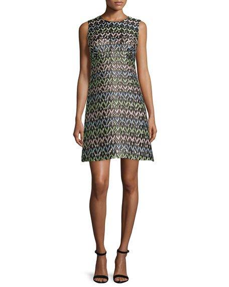 Milly A-Line Chevron Brocade Mini Dress, Multi In Multi Colors
