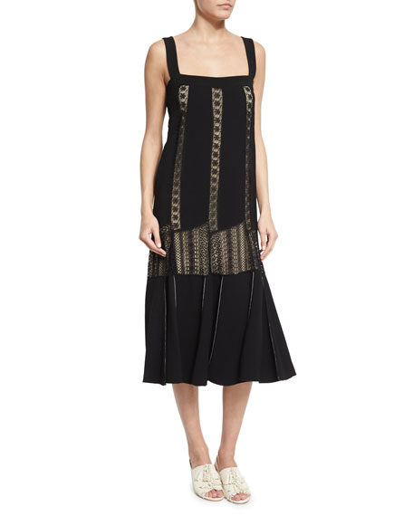 Derek Lam Sleeveless Embroidered-Lace Midi Dress, Black