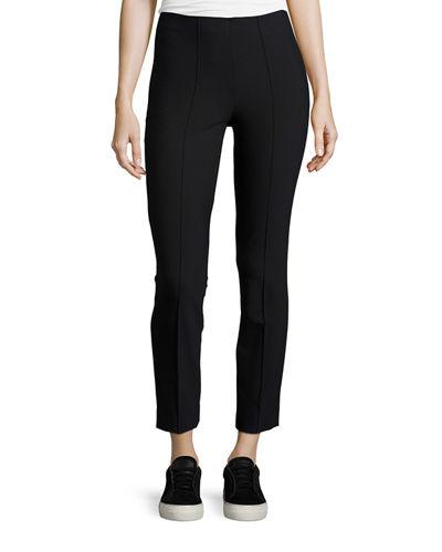 Vince Seamed Cotton-Stretch Trousers, Dark Blue In Black