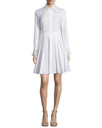Michael Kors Crystal-Eyelet Trim Long-Sleeve Shirtdress, Optic White