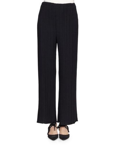 Proenza Schouler Pleated Wide-Leg Suiting Pants, Black, 00200 Blac