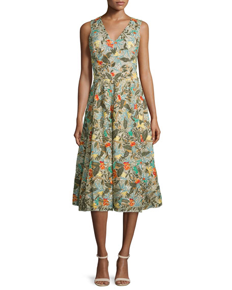 Alice And Olivia Jenn Sleeveless Floral Embroidered Dress In Multi Colors