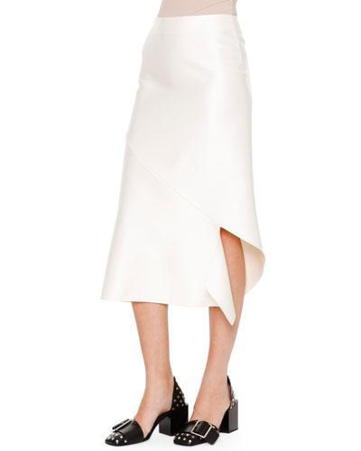 Jil Sander Albicocca Bias-Cut Swirl-Around Skirt, Off White