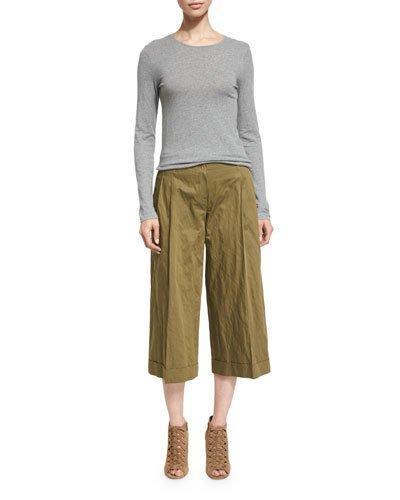 Michael Kors Pleated-Front Wide-Leg Cropped Pants, Juniper