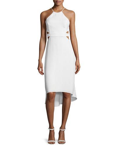 Halston Heritage Halter-Neck Dress W/Cutouts, Bone