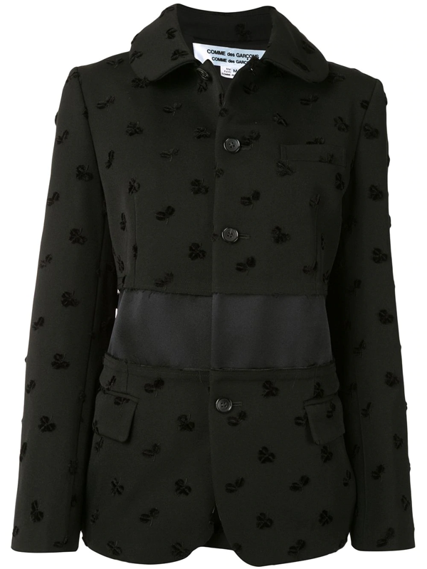 Comme Des Garçons Comme Des Garçons Floral Embroidered Blazer In Black