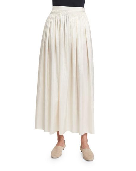The Row Tovo High-Waist Silk Full Midi Skirt, Old Lace