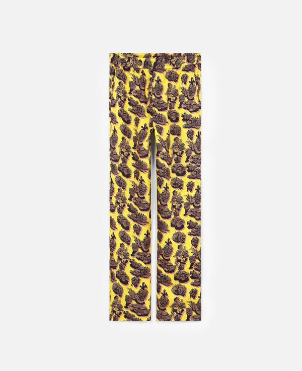Stella Mccartney Steel Citron Tye Silk Trousers