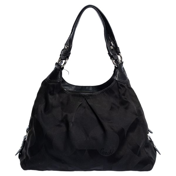 Pre-owned Coach Black Signature Canvas And Leather Shoulder Bag