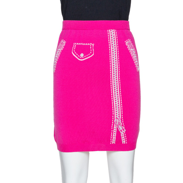 Pre-owned Moschino Couture Pink Wool Biker Optical Illusion Mini Skirt M