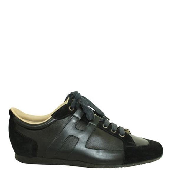 Pre-owned Hermes Black Suede Trimmed Low-top Sneakers