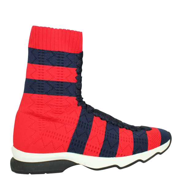 Pre-owned Fendi Red Leather Rockoko Sneakers