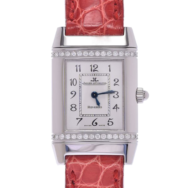 Pre-owned Jaeger-lecoultre Silver Diamonds Stainless Steel Reverso 265.8.080 Women's Wristwatch 20 X 32 Mm