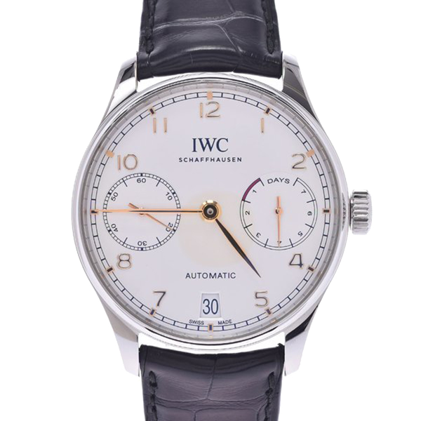 Pre-owned Iwc Schaffhausen Silver Stainless Steel Portugieser Automatic Iw500704 Men's Wristwatch 42 Mm