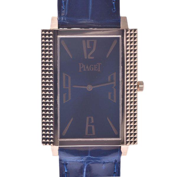Pre-owned Piaget Blue 18k Rose Gold 90300 Women's Wristwatch 28 Mm