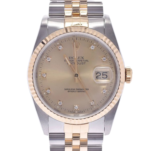 Pre-owned Rolex Champagne Diamonds 18k Yellow Gold And Stainless Steel Datejust 16233g Men's Wristwatch 36 Mm