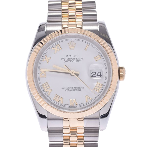 Pre-owned Rolex White 18k Yellow Gold And Stainless Steel Datejust 116233 Men's Wristwatch 36 Mm