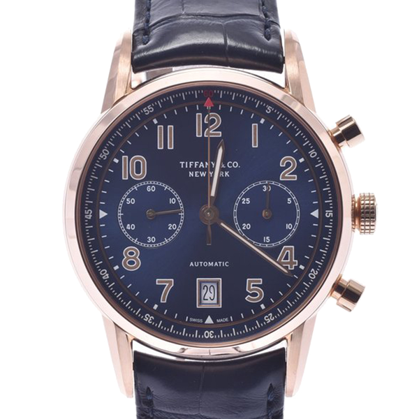 Pre-owned Tiffany & Co Blue 18k Rose Gold Ct60 Chronograph Automatic Men's Wristwatch 42 Mm