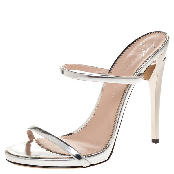 Pre-owned Giuseppe Zanotti Metallic Silver Foil Leather Double Strap Sandals Size 37