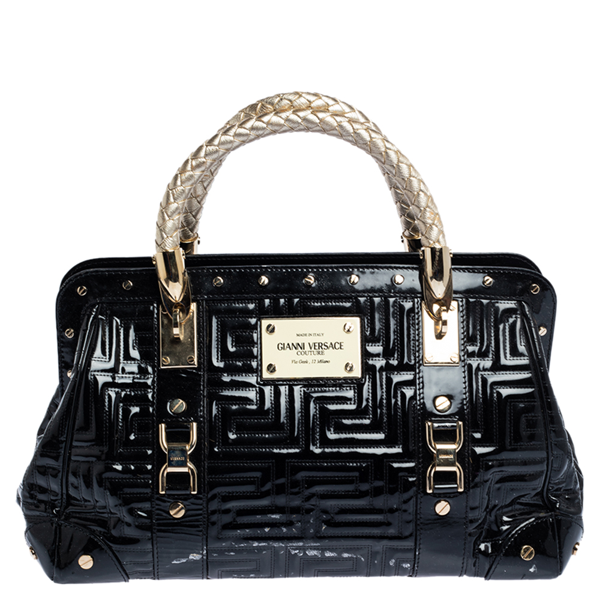 Pre-owned Versace Black Patent Leather Snap Out Of It Satchel