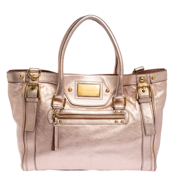 Pre-owned Dolce & Gabbana Metallic Peach Leather Miss Easy Way Tote