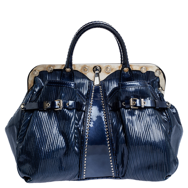 Pre-owned Versace Blue Striped Patent Leather Studded Frame Satchel