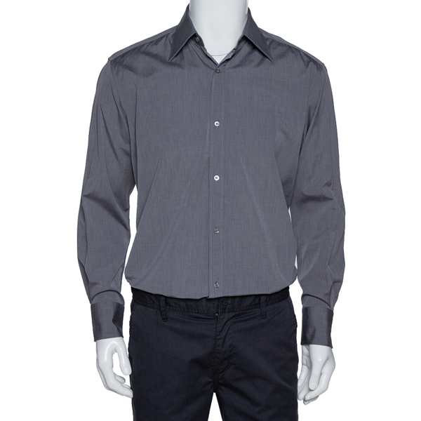 Pre-owned Gucci Dark Grey Cotton Button Front Shirt M