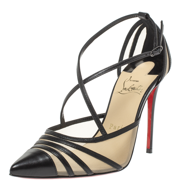 Pre-owned Christian Louboutin Black Mesh And Leather Theodorella Pumps Size 36