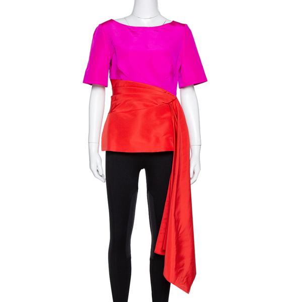 Pre-owned Oscar De La Renta Color Block Silk Faille Draped Top M In Pink