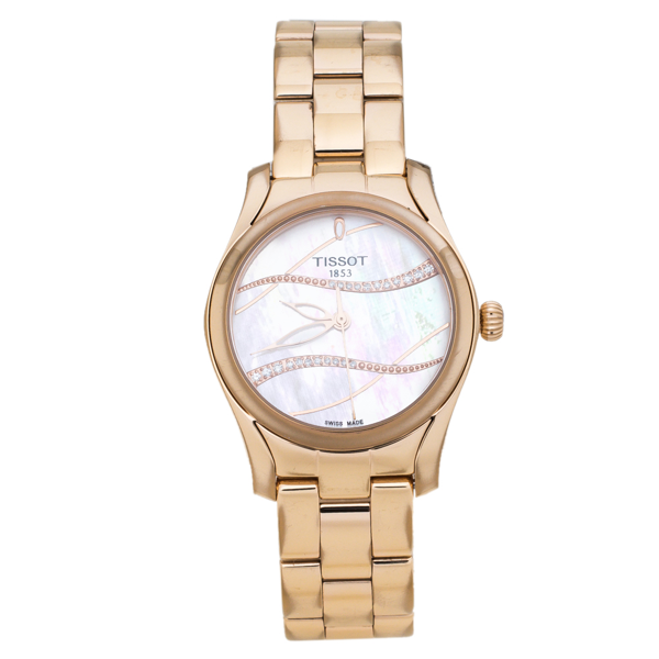 Pre-owned Tissot Mother Of Pearl Rose Gold Plated Stainless Steel Diamond T-wave T112210b Women's Wristwatch 30 Mm