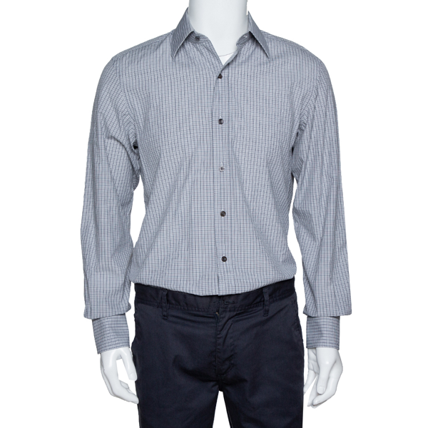 Pre-owned Tom Ford Monochrome Checked Cotton Long Sleeve Shirt M In Black