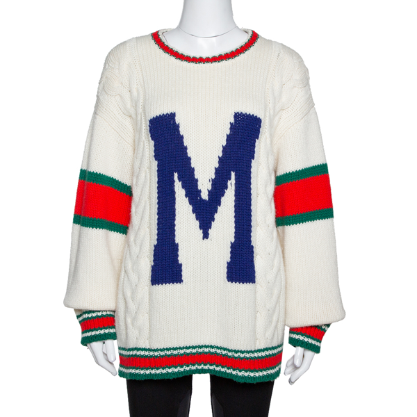 Pre-owned Gucci Off White Wool Knit Letter 'm' Diy Unisex Sweater M In Cream