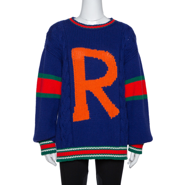 Pre-owned Gucci Blue Wool Cable Knit Letter 'r' Diy Unisex Sweater M
