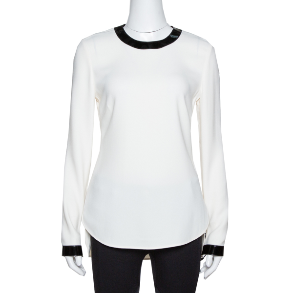 Pre-owned Ralph Lauren Off White Crepe Contrast Leather Trim Blouse S