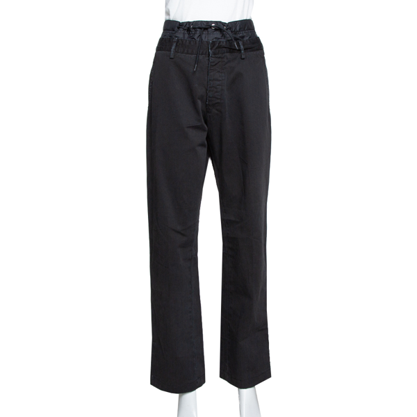 Pre-owned Prada Black Denim Distressed Effect Regular Fit Pants L