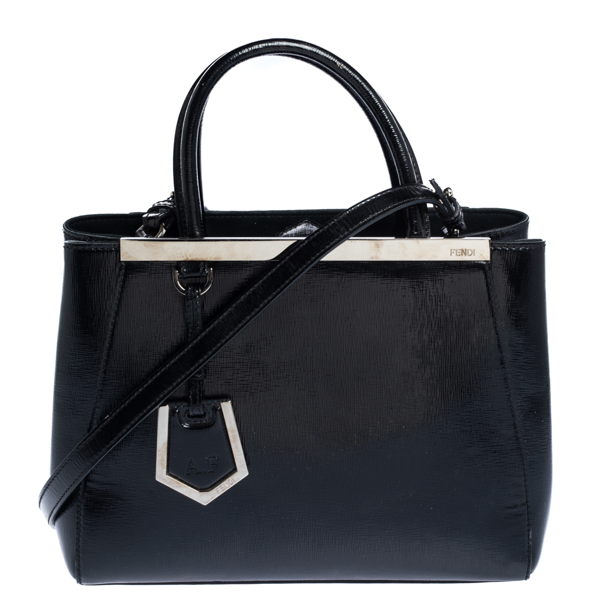 Pre-owned Fendi Black Patent Leather Mini 2jours Tote