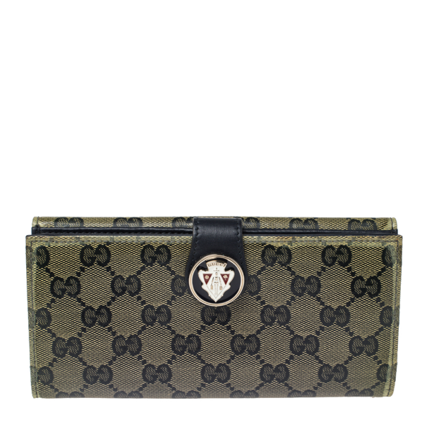Pre-owned Gucci Navy Blue Gg Crystal Coated Canvas Voyager Continental Wallet