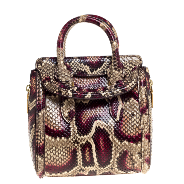 Pre-owned Alexander Mcqueen Multicolor Python Mini Heroine Shoulder Bag