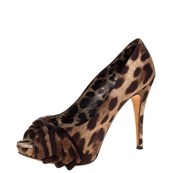 Pre-owned Dolce & Gabbana Brown Animal Print Satin Bow Peep Toe Platform Pump Size 38.5
