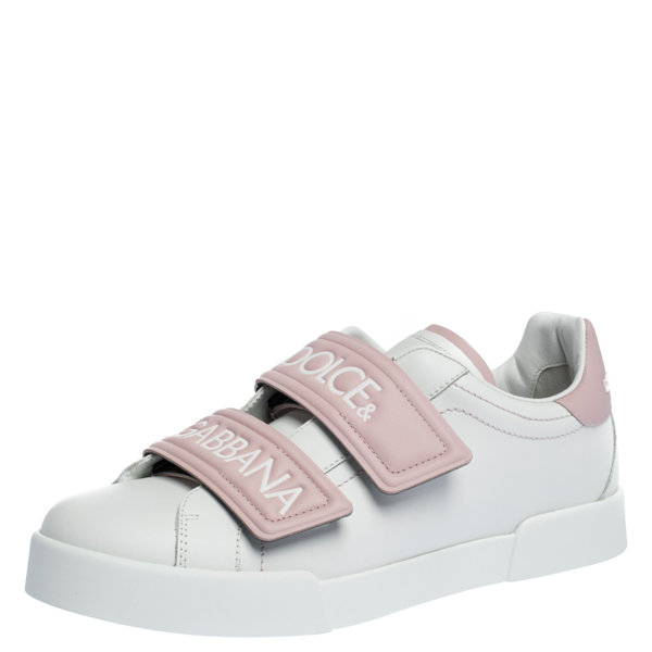 Pre-owned Dolce & Gabbana White/pink Leather Logo Velcro Straps Sneakers Size 40.5