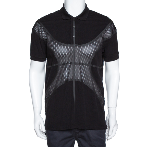 Pre-owned Givenchy Black Cotton Pique Mesh Paneled Oversized Polo T Shirt Xs